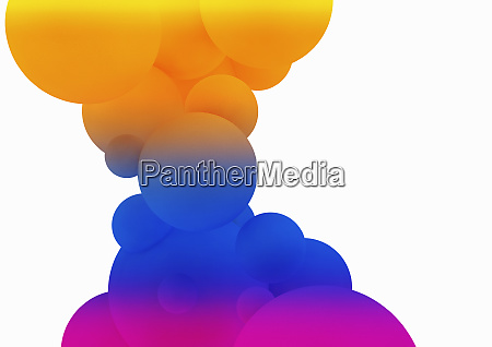 abstract bright multicolored bubbles on white