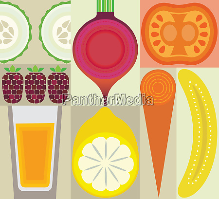 montage of healthy fruit juice and