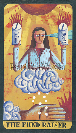 tarot card depicting woman with collecting