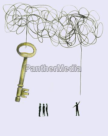 czlowiek odkrywa koniec splatane string dolaczony
