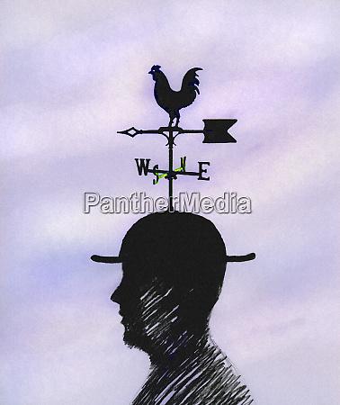 businessman wearing weathervane hat