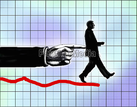 finger pushing businessman off the end