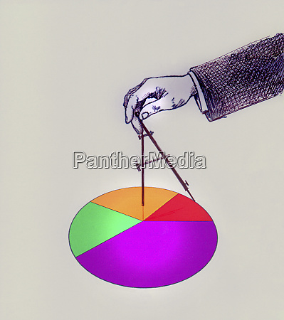 businessmans hand drawing pie chart with