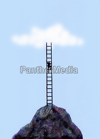 businessman climbing ladder on top of