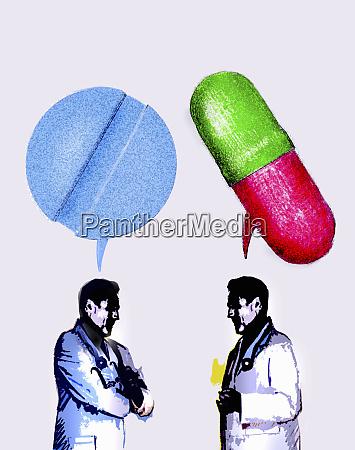 AErzte diskutieren ueber verschiedene medikamente