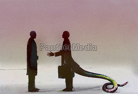 businessman with snake tail greeting coworker