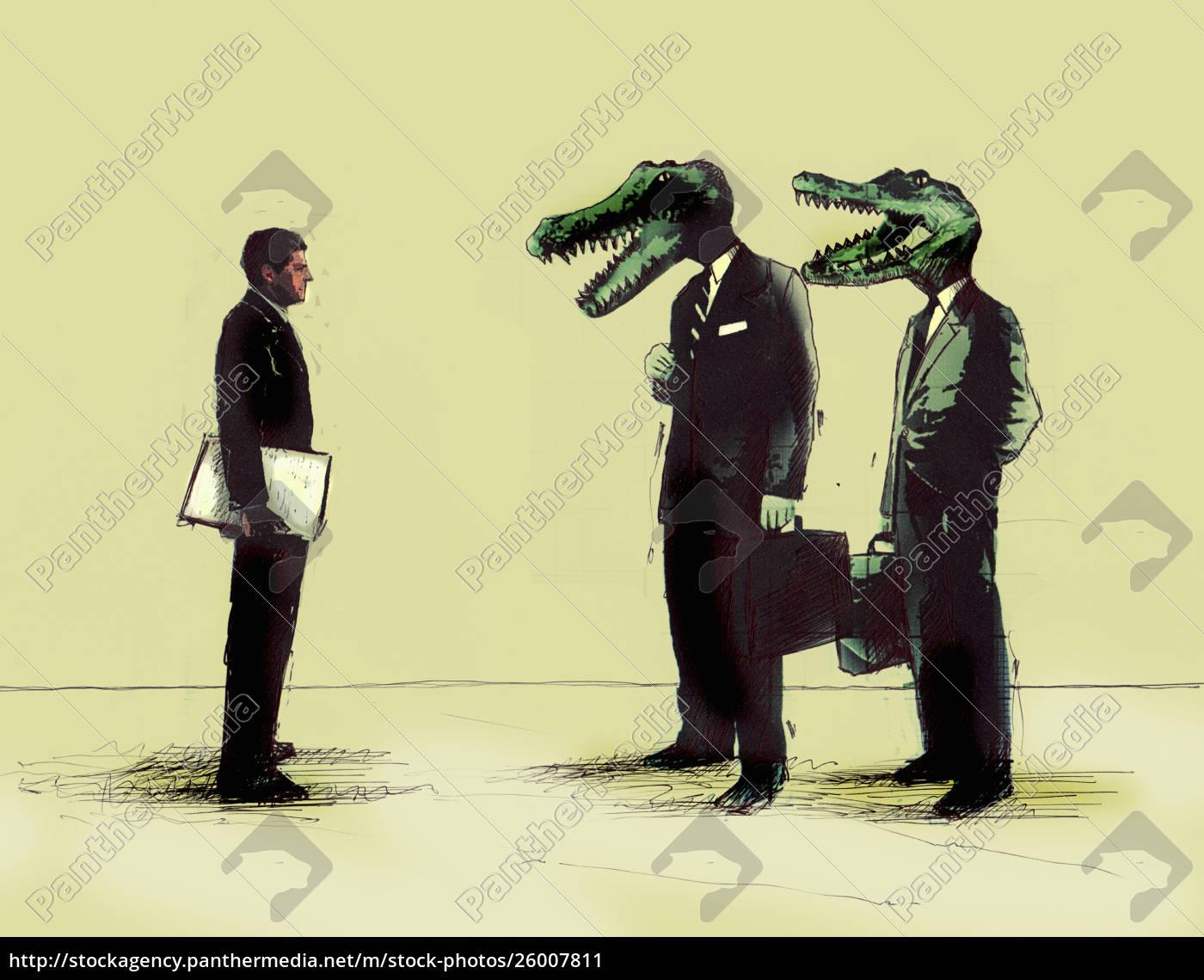 geschäftsmann, trifft, geschäftsleute, mit, krokodilköpfen - 26007811