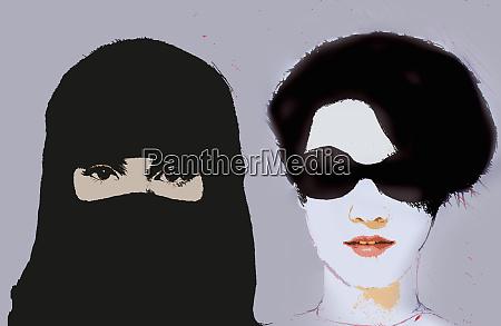 muslimische, frau, die, niqab, neben, westernfrau, trägt, die - 26007733