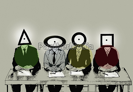 row of businessmen with different shape