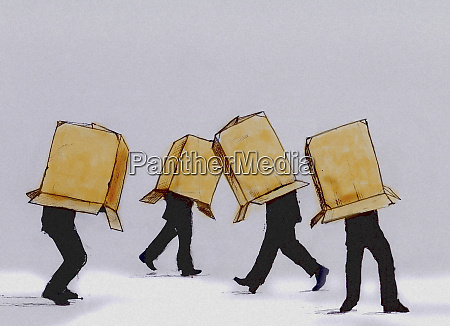 businessmen walking cardboard box covering head