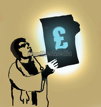 doctor examining pound sign on x