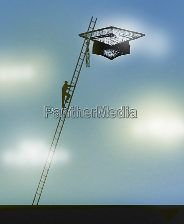 man climbing ladder towards mortarboard in