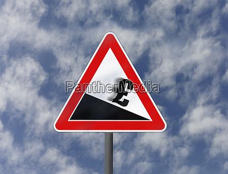 british pound sign sliding downhill on