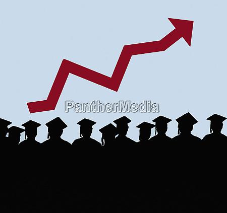 rising arrow graph above row of