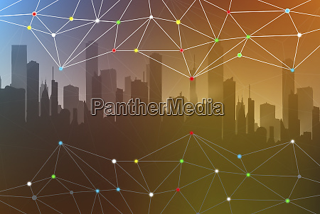 abstract network connection pattern over city
