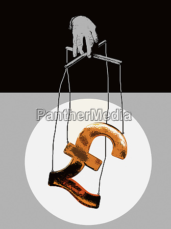 hand manipulating pound symbol puppet on