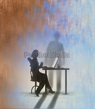 shadow of man looming over woman
