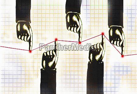 opposing hands of businessmen pushing line