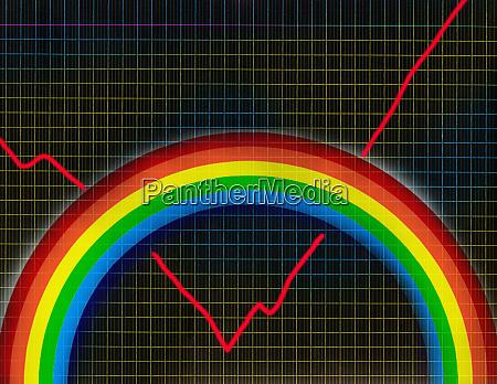 verbesserung der liniengrafik hinter dem regenbogen