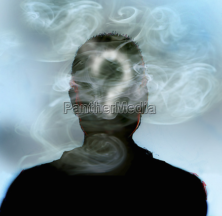 man smoking with question mark in
