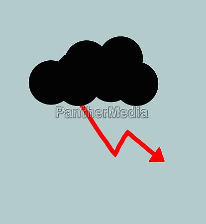 red line graph lightning arrow descending
