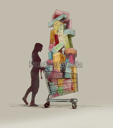 woman pushing shopping cart with huge