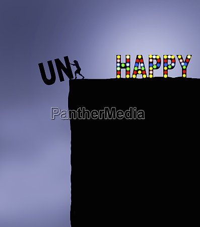 woman changing the word unhappy to