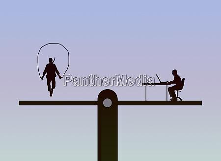 seesaw balancing man skipping and man