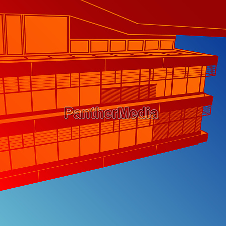 abstract red building on blue background