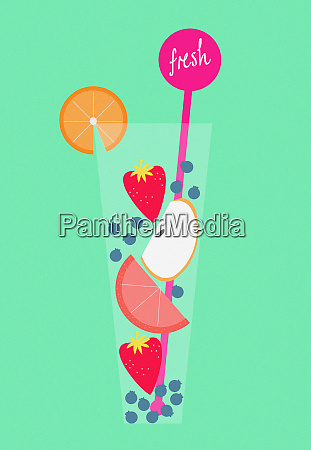 fresh fruit in glass of healthy