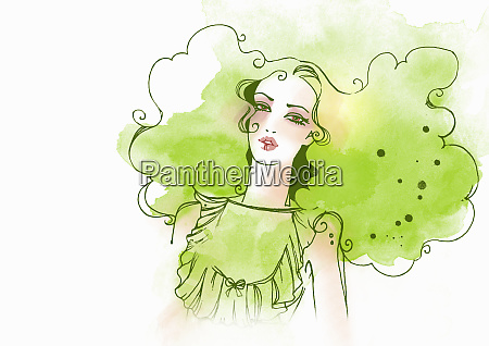 woman with green hair and dress
