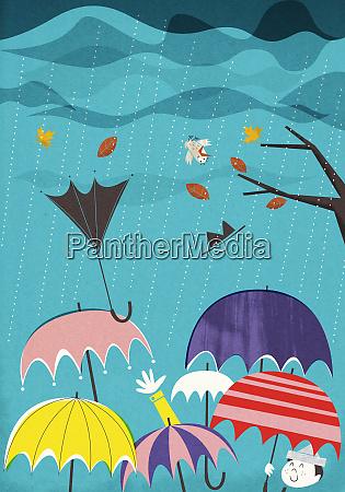 colorful umbrellas in rain and wind