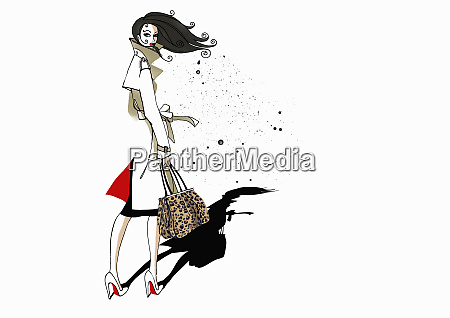 stylish woman wearing trench coat and