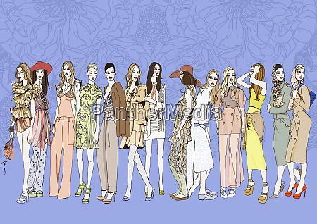 queue of stylish women standing in
