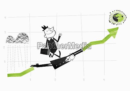 businessman bridging gap in ascending arrow