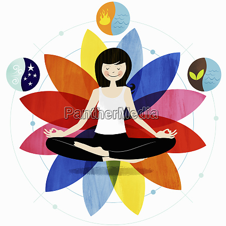 smiling woman sitting in lotus position