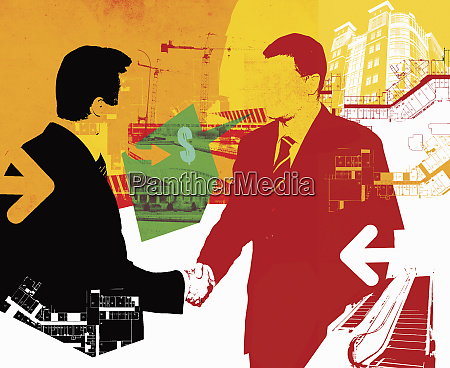 buildings plans and businessmen shaking hands