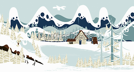 lakeside cabin below mountains in snow