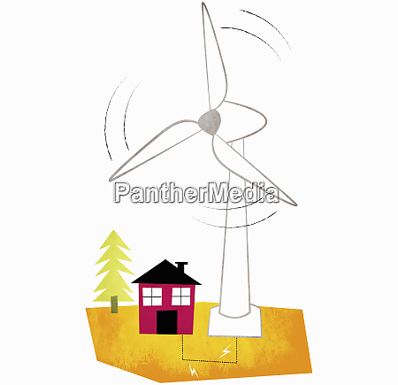 large wind turbine spinning above house