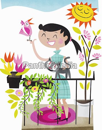happy woman on sunny balcony with