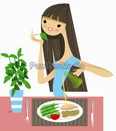 woman smelling fresh herb with healthy