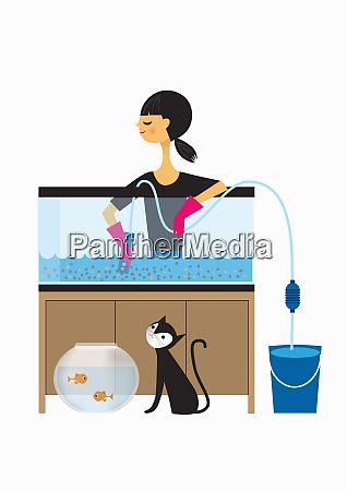 frau, reinigt, fischbehälter - 26009977