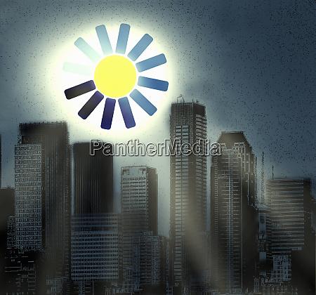 computer loading symbol as sun above