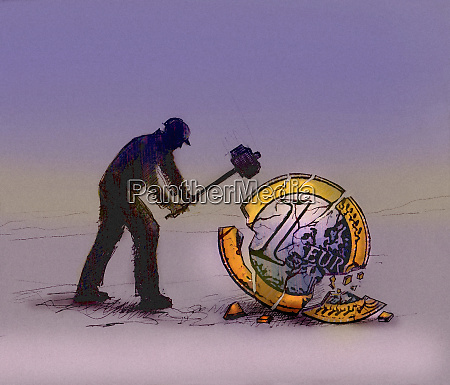 workman breaking up a one euro