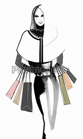 portrait of elegant woman carrying shopping