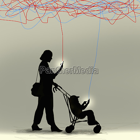 mother and toddler in pushchair ignoring