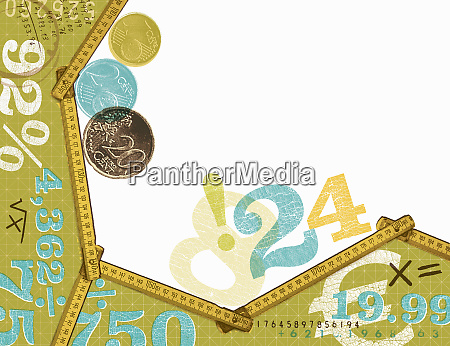 euro coins and calculations