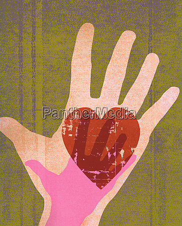 large hand with heart and small