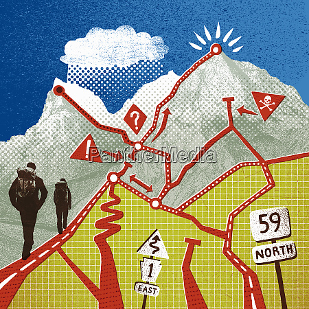 hikers ascending mountain with path choices