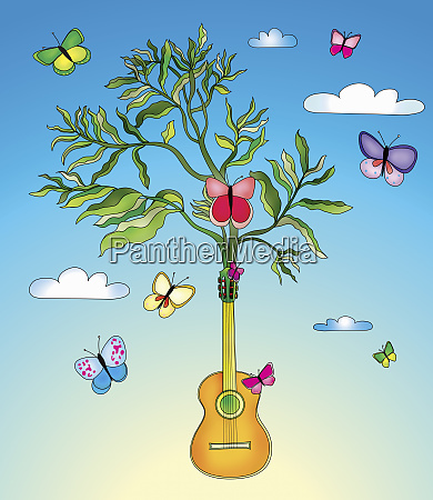 butterflies surrounding plant growing from guitar